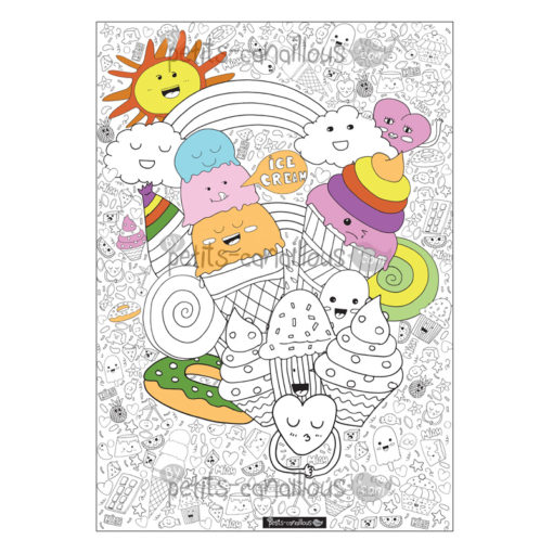 Coloriage Gourmandise Kawaii.Poster Geant A Colorier Gourmandises Et Cremes Glacees